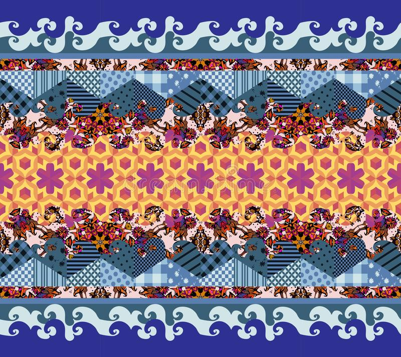Vector abstract seamless patchwork pattern. Decorative ornament royalty free illustration