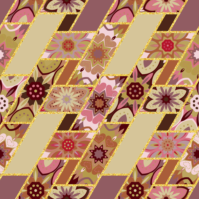 Vector abstract seamless patchwork pattern with geometric and floral ornaments, stylized flowers, dots lace. Vintage stock illustration