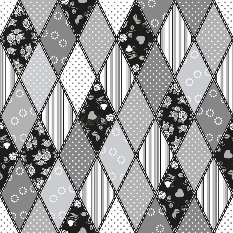 Vector abstract seamless patchwork pattern royalty free illustration