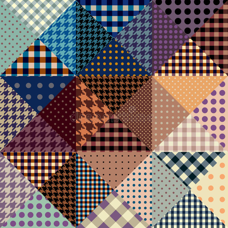 Vector abstract seamless patchwork pattern from riangles vector illustration