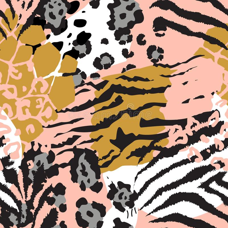 Vector abstract seamless pattern with animal skin motifs. stock illustration