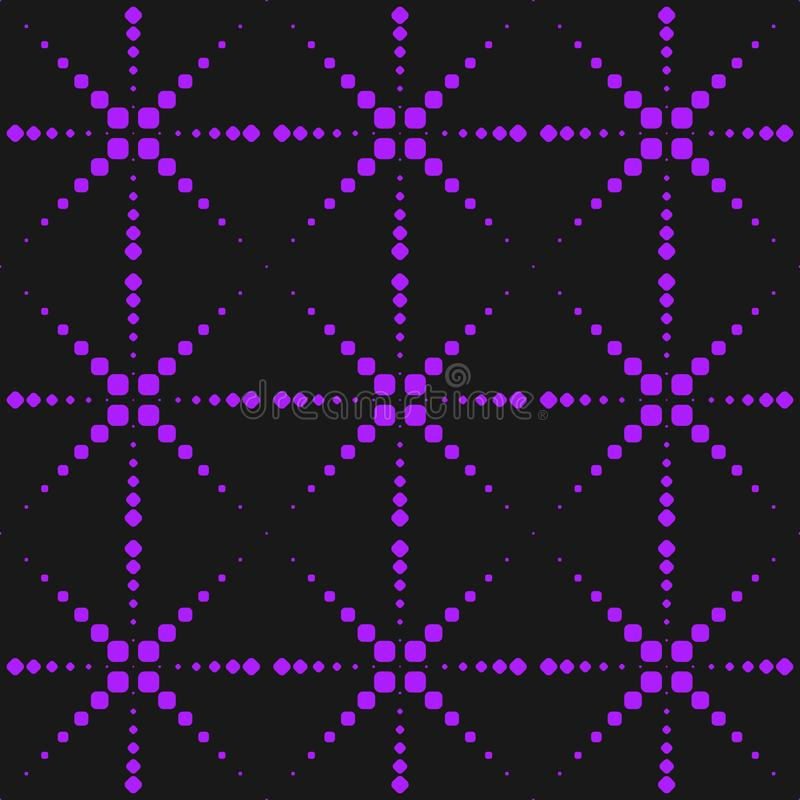 Vector neon purple seamless pattern with dots, sparkles, fireworks, cross lines. Extreme sport style, urban art texture. royalty free illustration