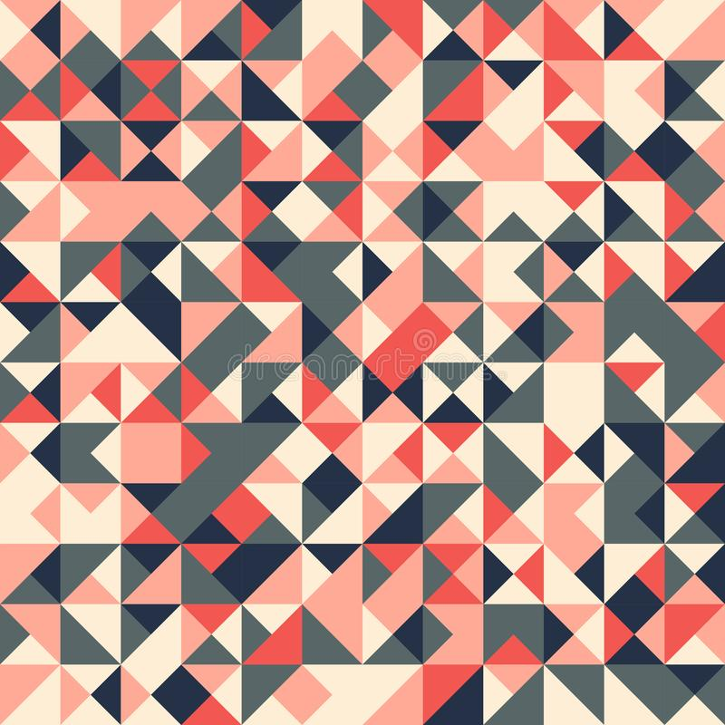Vector abstract seamless pattern with randomly colored triangles stock illustration