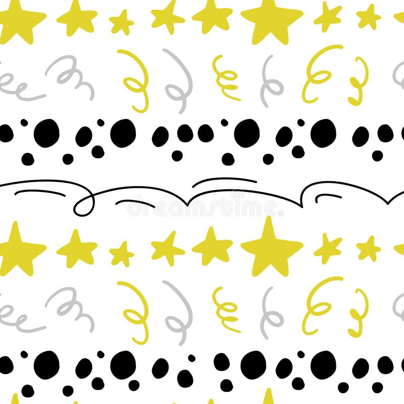 Vector abstract seamless pattern with stars, confetti, lines, spots in hand drawn comic style. royalty free illustration