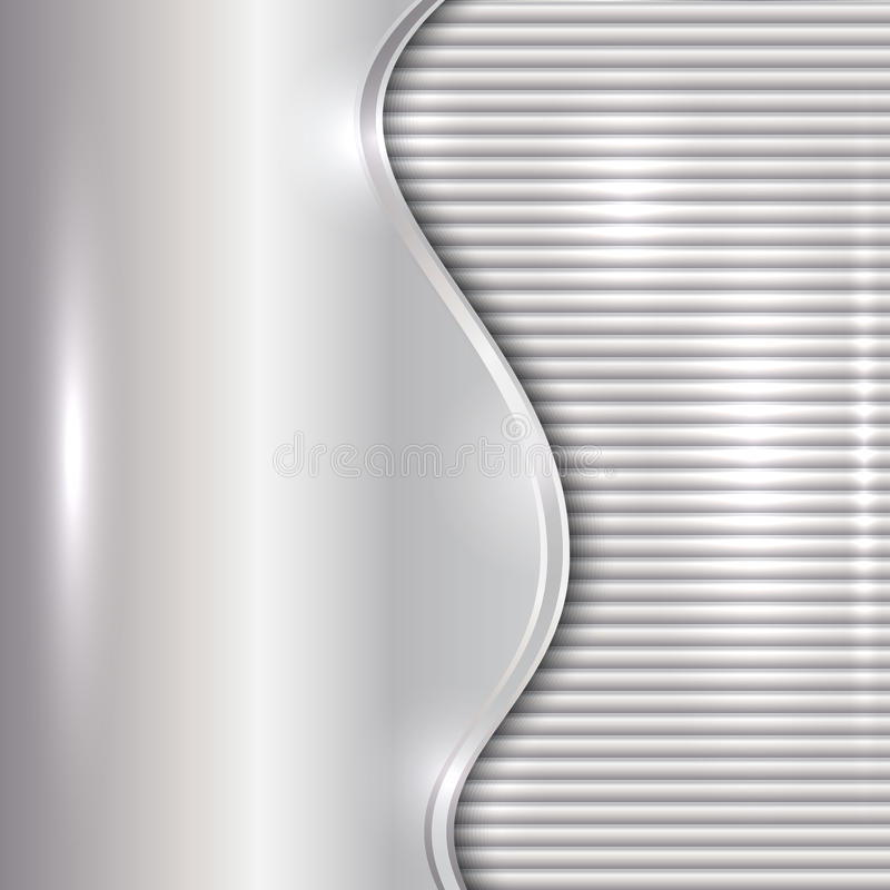 Vector abstract silver background with curve and stripes stock illustration