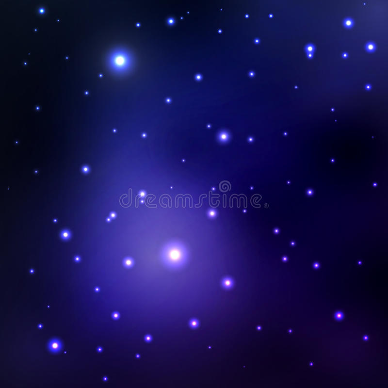 Vector abstract space background with stars. blue space nebula and black hole. image of distant galaxies, planets glow. royalty free illustration
