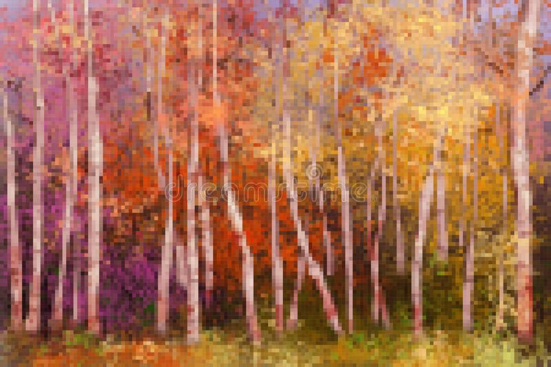Vector abstract squares or pixel shape design. Original image of oil painting landscape. stock illustration