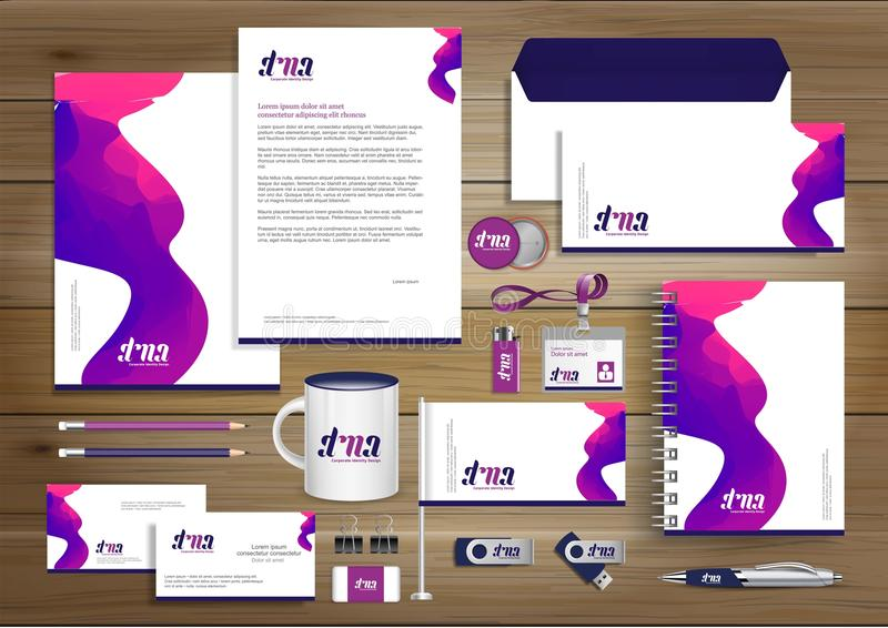 Vector abstract stationery Editable corporate identity template design, Gift Items business Color promotional souvenirs elements. stock illustration