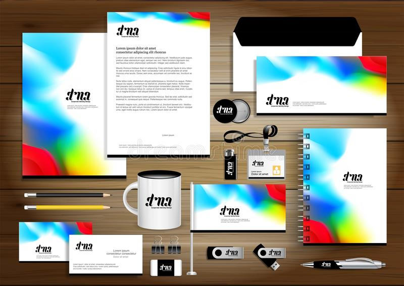 Vector abstract stationery Editable corporate identity template design, Gift Items business Color promotional souvenirs elements. Link digital technology stock illustration
