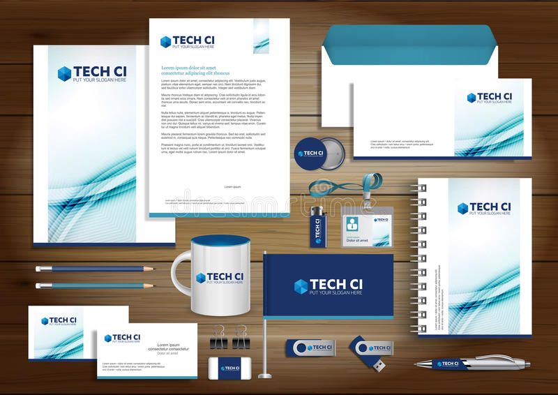 Vector abstract stationery Editable corporate identity template stock photos