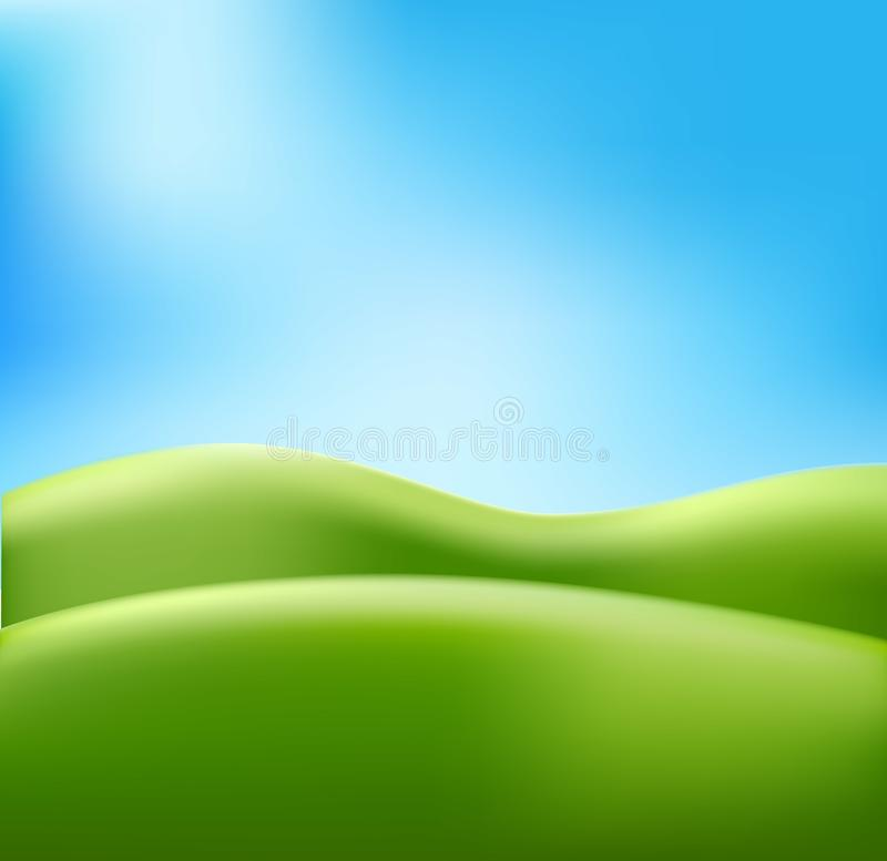 Vector abstract summer background meadow blue sky stock illustration