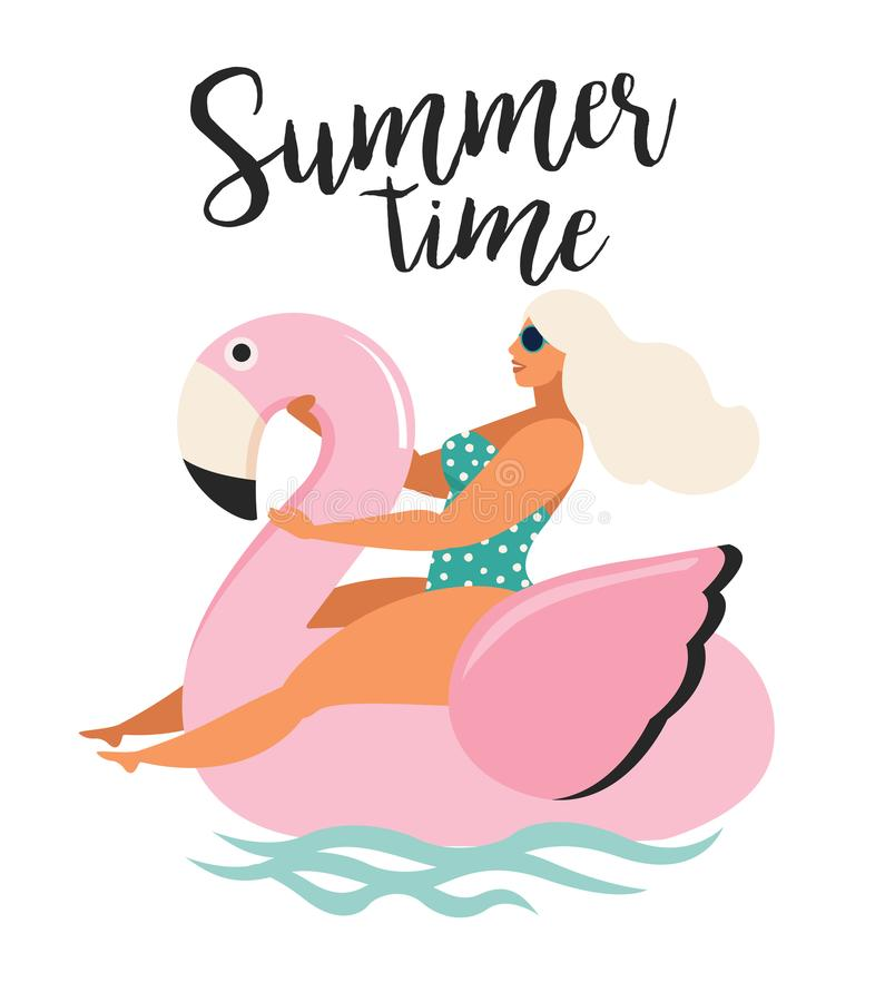 Vector abstract summer time illustration card with girl swimming on pink flamingo float circle in ocean waves with calligraphy. Su vector illustration