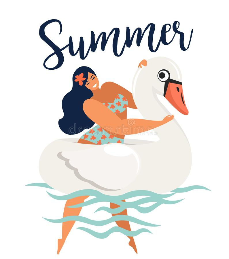 Vector abstract summer time illustration card with girl swimming on swan float circle in ocean waves with calligraphy. Summer time stock illustration