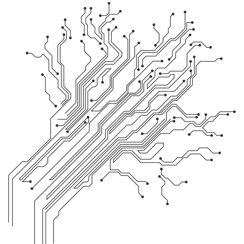 Vector abstract technology illustration with circuit board. High tech digital scheme of electronic device. royalty free illustration