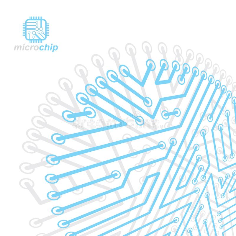 Vector abstract technology illustration with circuit board. High stock illustration