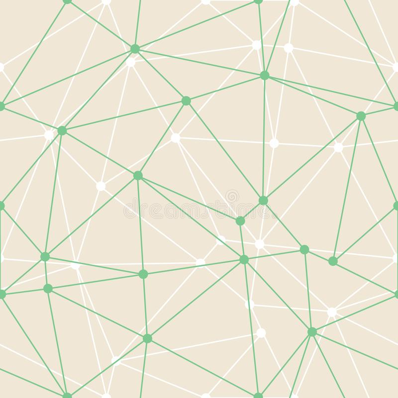 Vector Abstract Triangle Geometrical Green Thin Outlines with dots Background. Suitable for d wallpaper. Suitable for textile, royalty free illustration