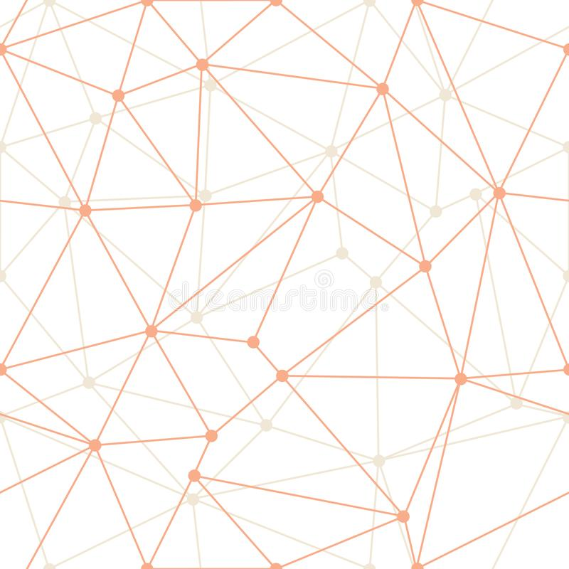 Vector Abstract Triangle Geometrical Orange thin Outlines with dots Background. Suitable for textile, gift wrap and wallpaper stock illustration