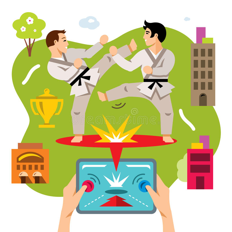 Vector Abstract virtual combat mobile game. Flat style colorful Cartoon illustration. stock illustration