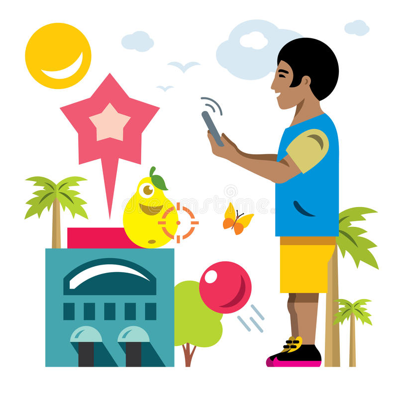 Vector Abstract virtual mobile game. Flat style colorful Cartoon illustration. stock illustration
