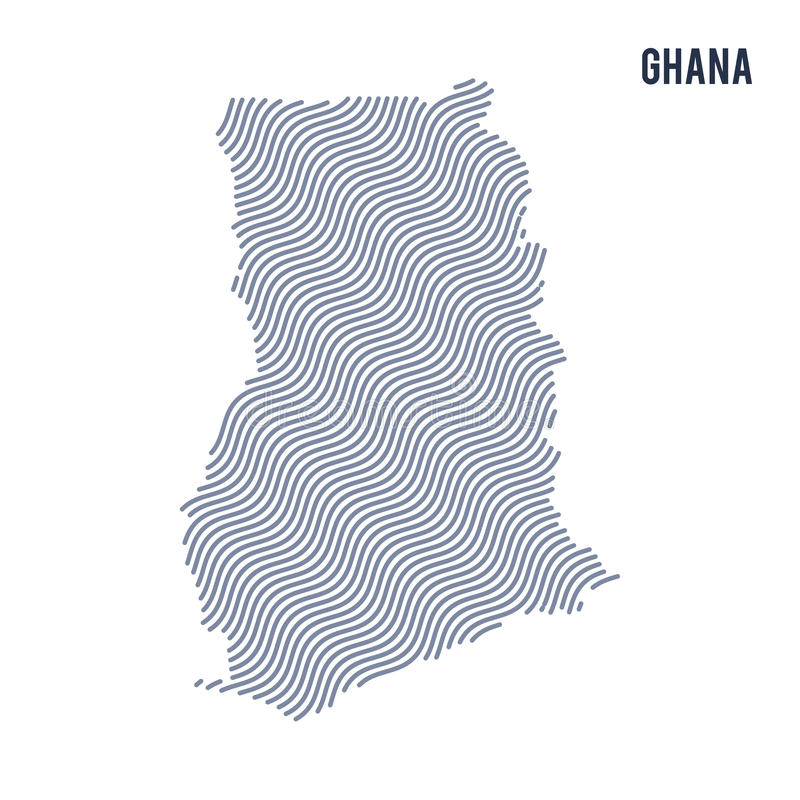 Vector Abstract Wave Map Of Ghana Isolated On A White Background - Ghana map vector