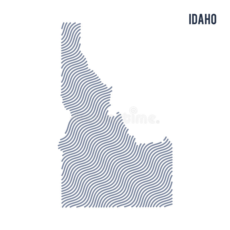 Vector abstract wave map of State of Idaho isolated on a white background. royalty free illustration