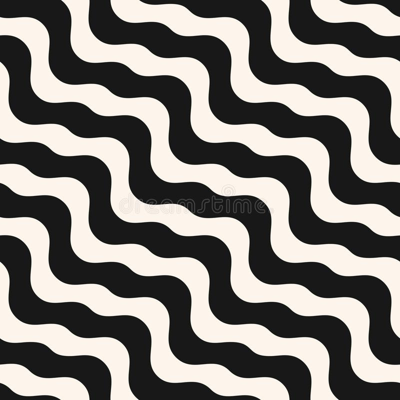 Vector abstract wavy seamless pattern. Black and white waves background stock illustration