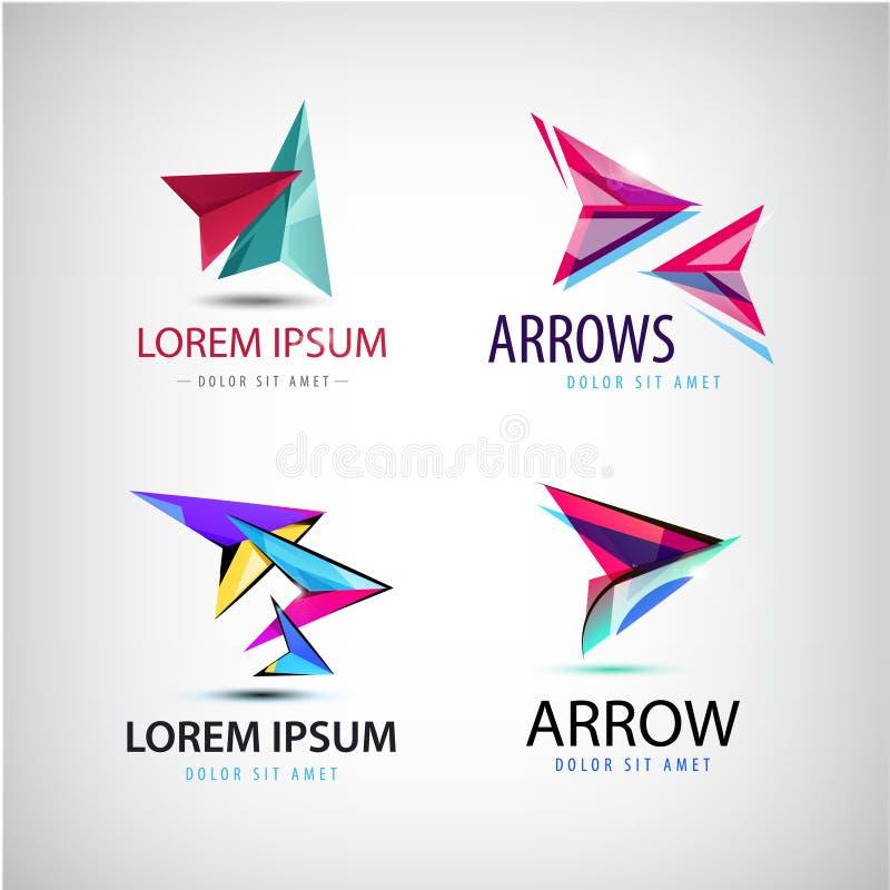 Vector abstract web logo, arrow set royalty free illustration