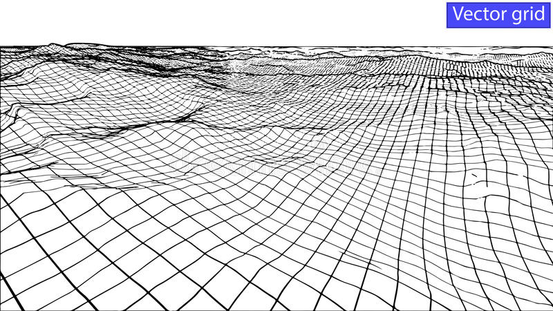 Vector Abstract wireframe landscape background. Cyberspace grid. 3d royalty free illustration