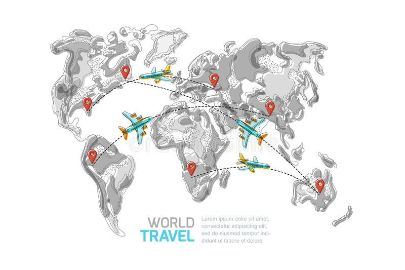Vector abstract world map with pins and flying airplanes travel download vector abstract world map with pins and flying airplanes travel around the world and gumiabroncs Images