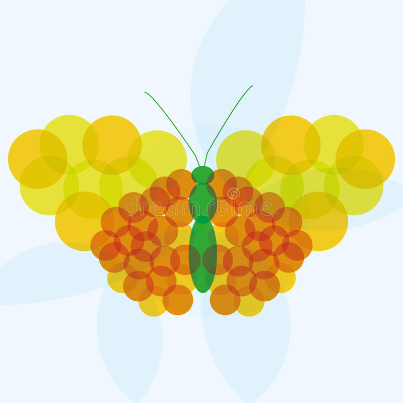 Vector Abstract Yellow Orange And Green Butterfly Background. A Vector Abstract Yellow Orange And Green Butterfly Background stock illustration
