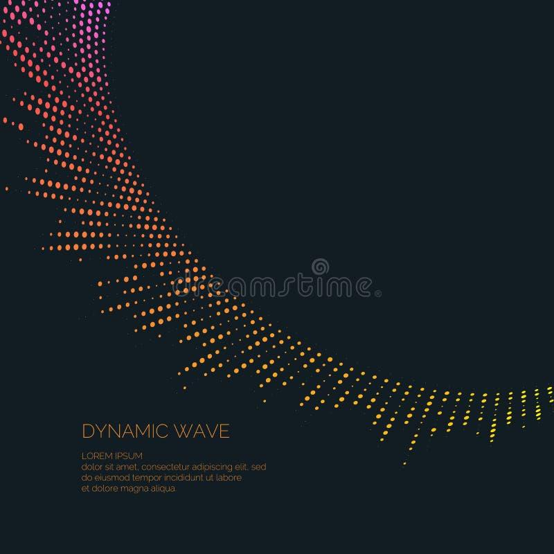 Vector abstracte achtergrond met gekleurde dynamische golven, lijn en deeltjes stock illustratie