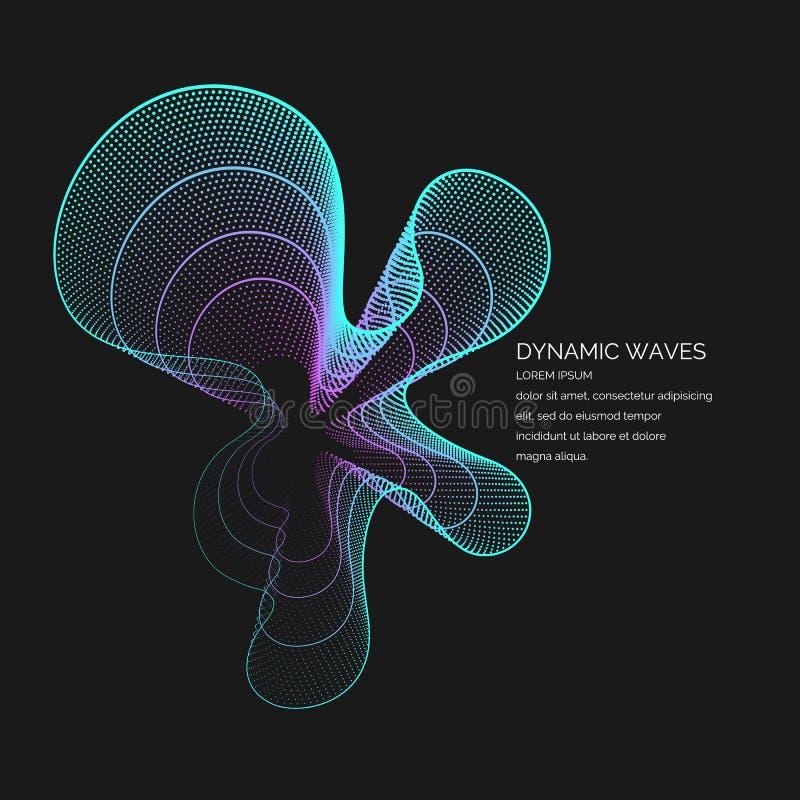 Vector abstracte achtergrond met gekleurde dynamische golven, lijn en deeltjes royalty-vrije illustratie
