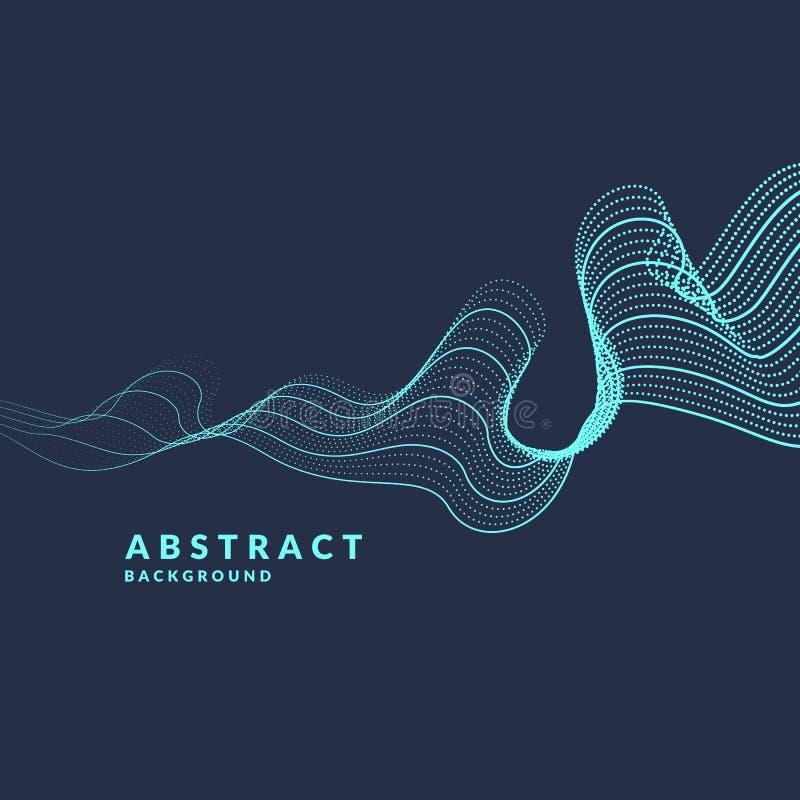 Vector abstracte achtergrond met gekleurde dynamische golven, lijn en deeltjes Illustratie in minimalistic stijl stock illustratie