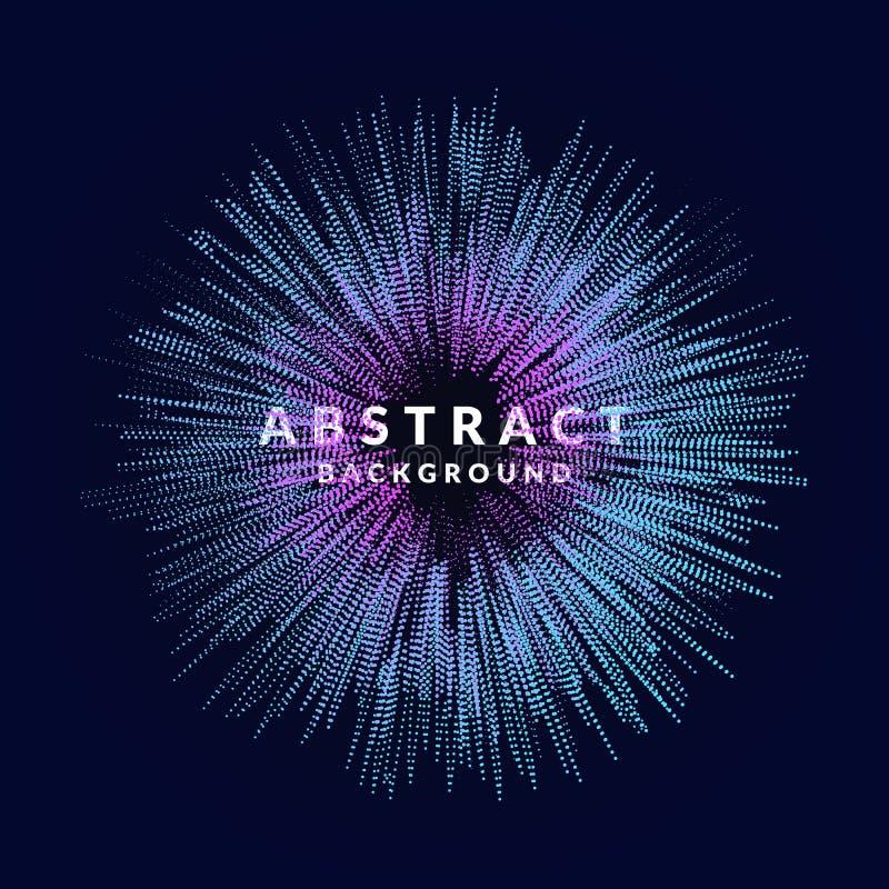 Vector abstracte achtergrond met gekleurde dynamische golven, lijn en deeltjes Illustratie in minimalistic stijl royalty-vrije illustratie
