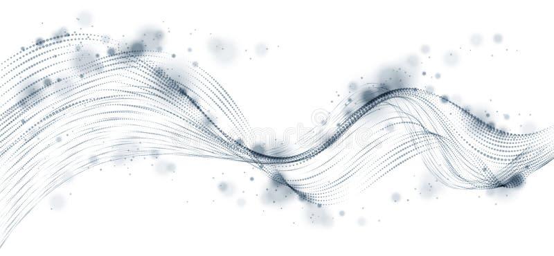 Vector abstracte achtergrond met golf van stromende deeltjes, de vlotte lijnen van de krommevorm, de stroom van de deeltjesserie  vector illustratie