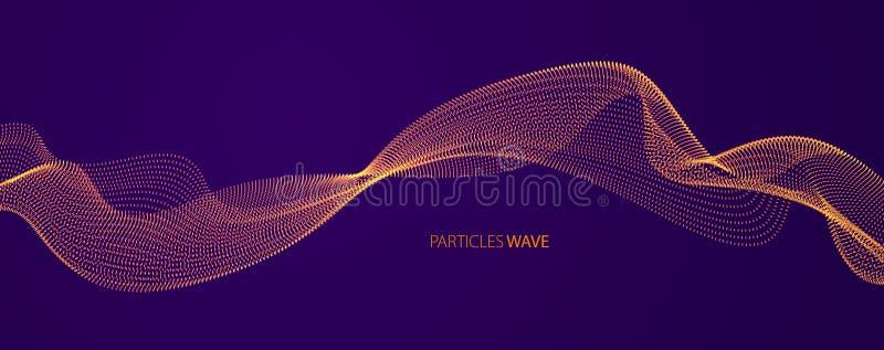 Vector abstracte achtergrond met golf van stromende deeltjes over de donkere, vlotte lijnen van de krommevorm, de stroom van de d stock illustratie
