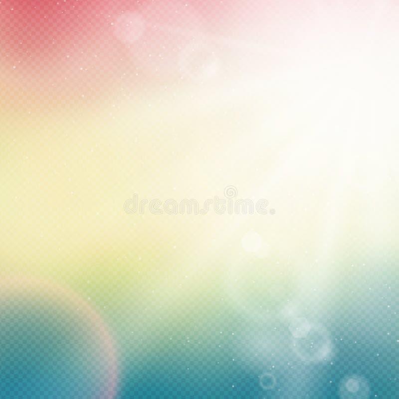 Vector abstracte achtergrond met van de de zomerzon en lens gloed stock illustratie