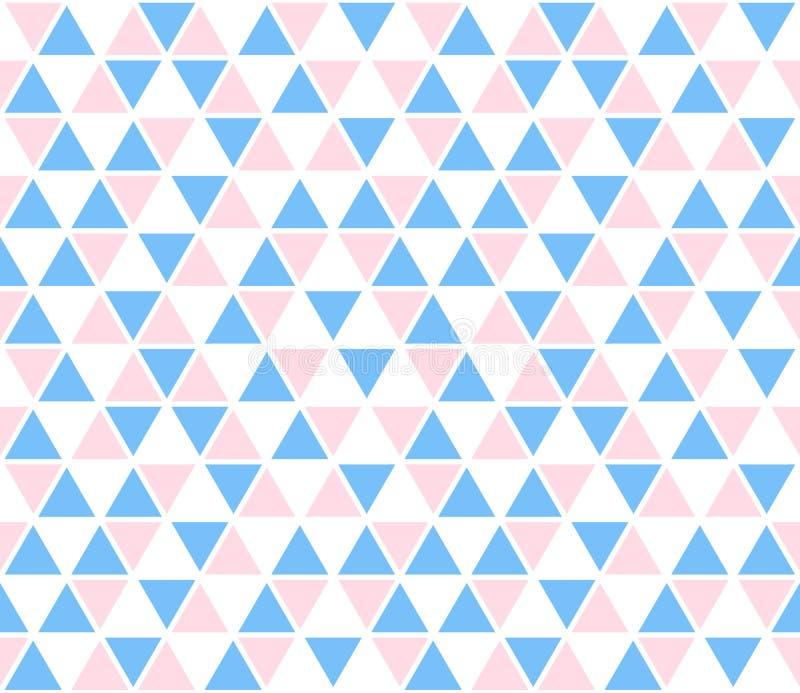Vector abstracte achtergrond, naadloos patroon De blauwe roze witte textuur van driehoeksvormen Patroon van het jonge geitjes het royalty-vrije illustratie