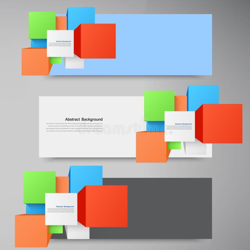 Vector abstracte achtergrond. Vierkant en 3d voorwerp vector illustratie