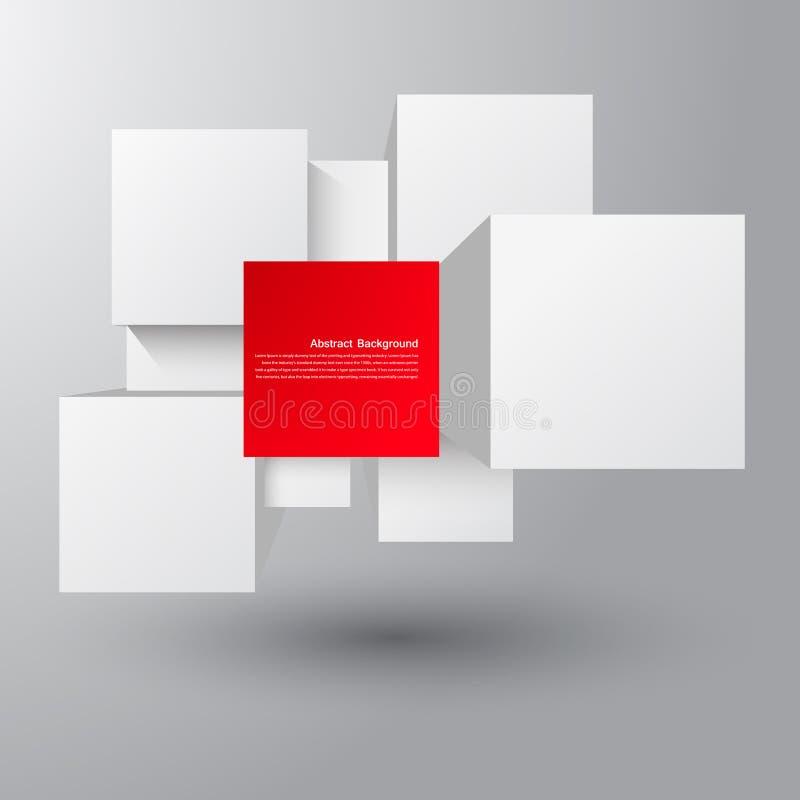 Vector abstracte achtergrond. Vierkant en 3d voorwerp stock fotografie