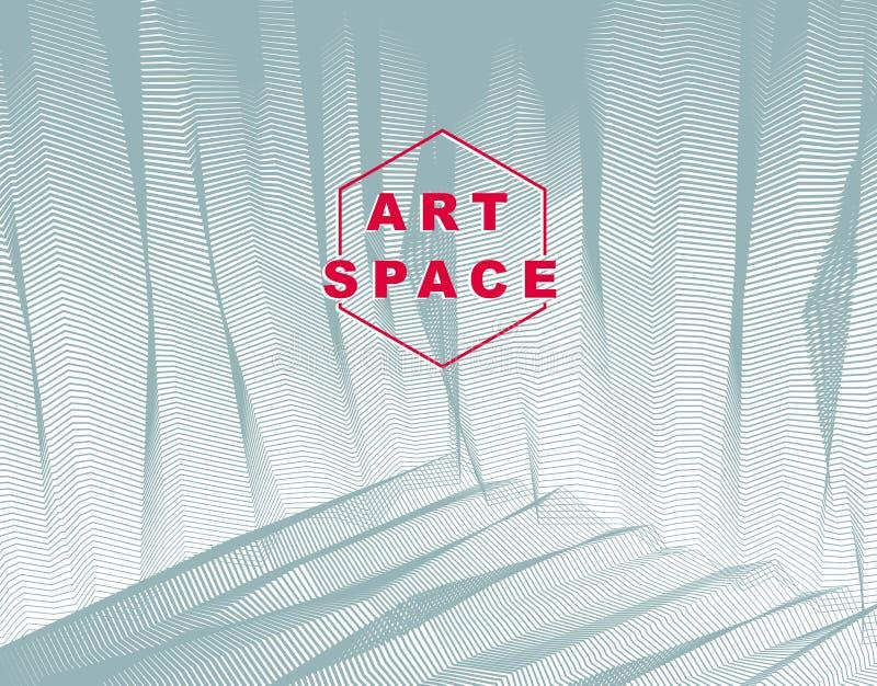 Vector abstracte artistieke achtergrond voor ontwerp, lineair 3d moiré vector illustratie