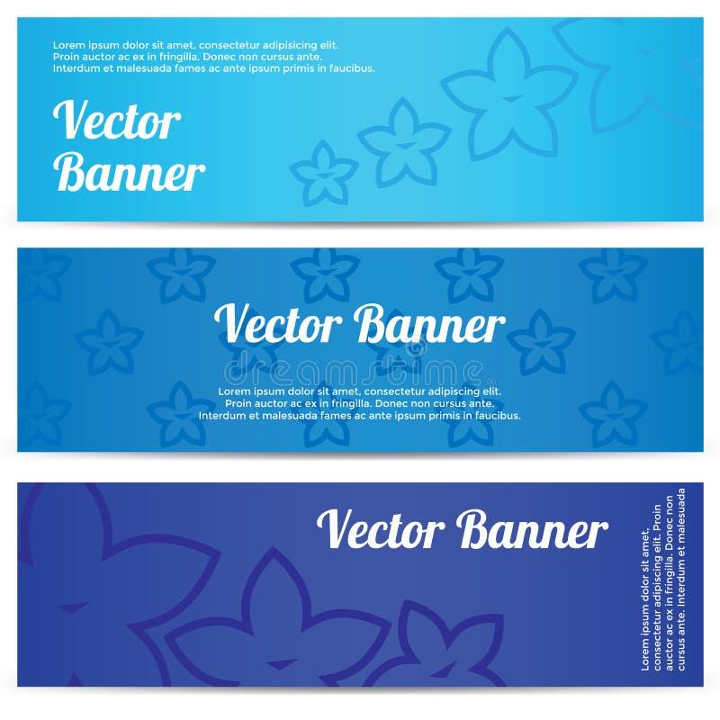 Vector abstracte banner met blauwe bloemen vector illustratie