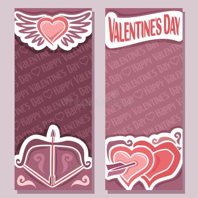 Vector abstracte banners voor de Gelukkige Dag van Valentine ` s stock illustratie