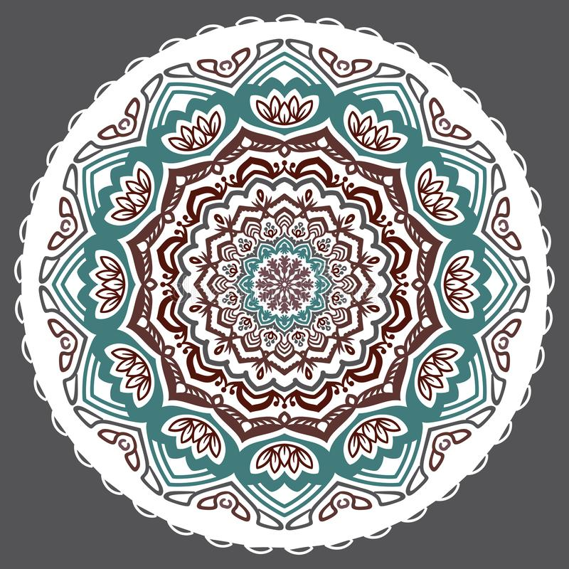 Vector abstracte bloemen twaalf-gerichte mandala op een grijze achtergrond royalty-vrije illustratie