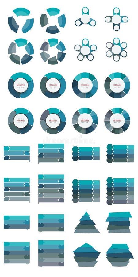 Vector abstracte bundel 3.4.5.6 van elementeninfographics optie desi stock illustratie