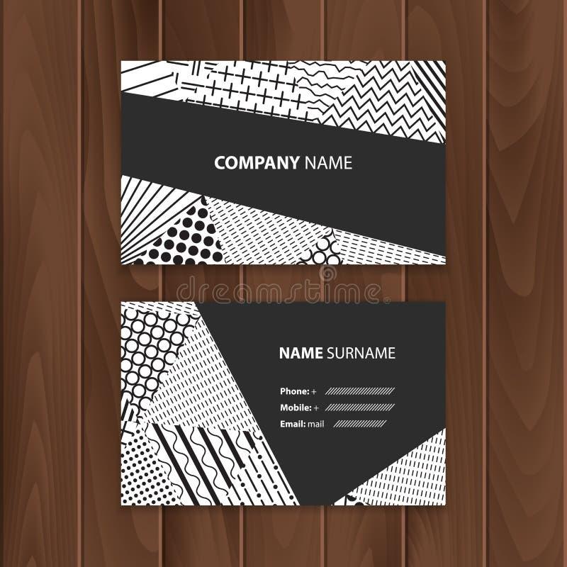 Vector abstracte creatieve adreskaartjes met dekking van zwart-witte driehoeken vector illustratie