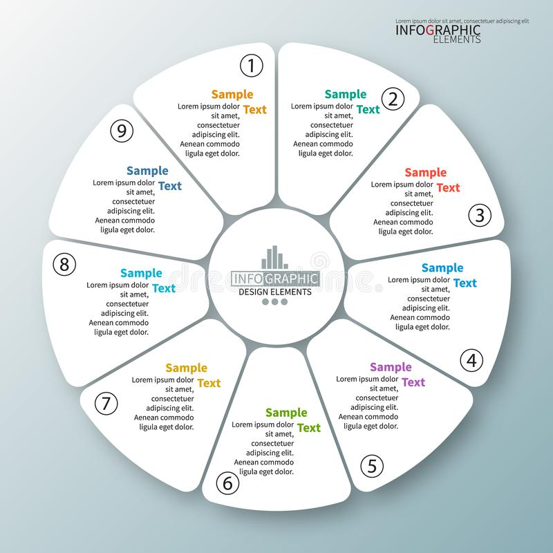 Vector abstracte 3d document infographic elementen Cirkelinfographics stock illustratie