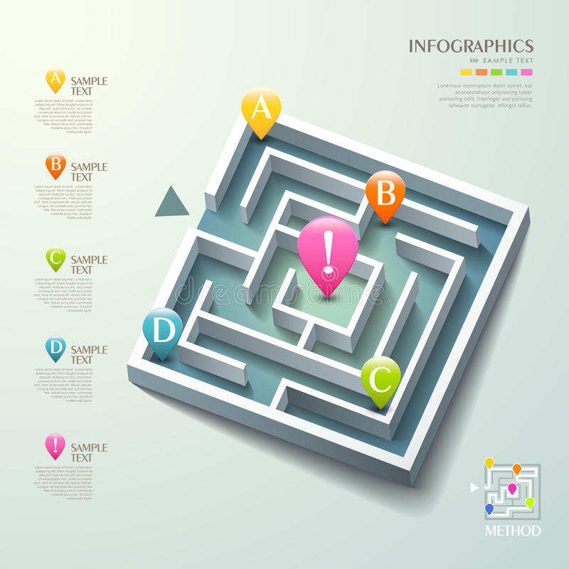 Vector abstracte 3d labyrintinfographics stock illustratie