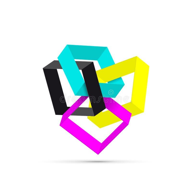 Vector abstracte 3d vorm, CMYK voor printer vector illustratie