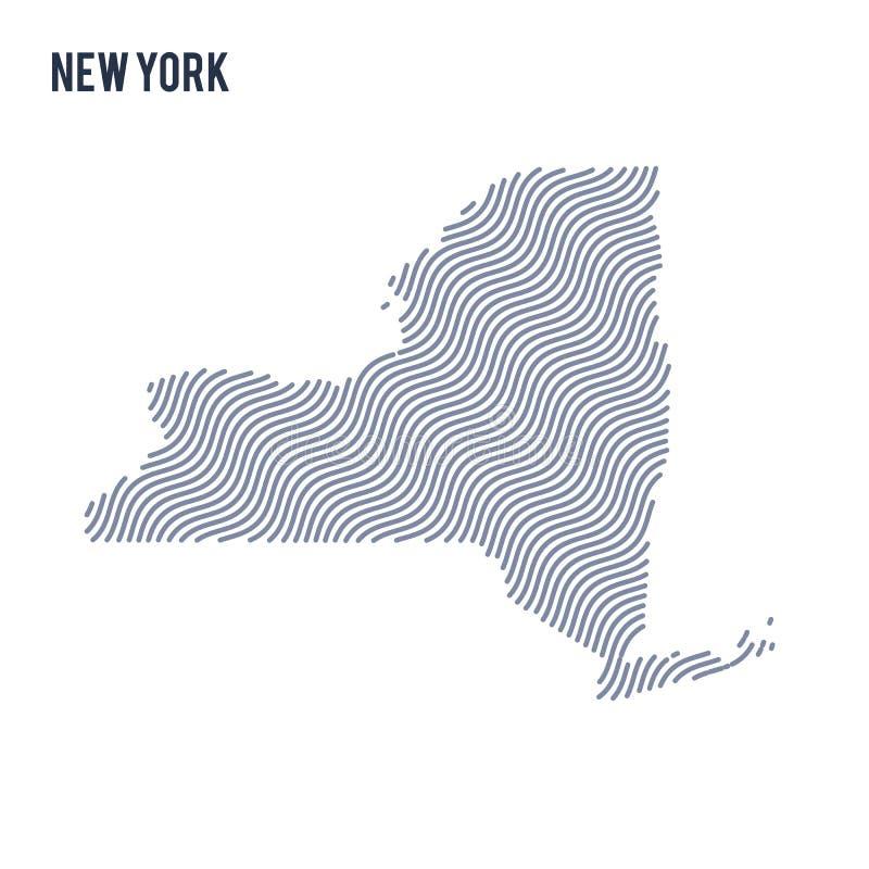 Vector abstracte die golfkaart van Staat van New York op een witte achtergrond wordt geïsoleerd royalty-vrije illustratie
